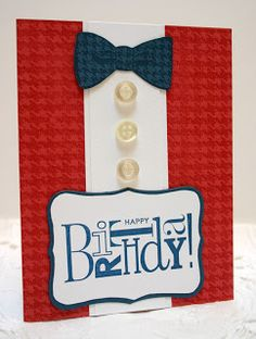 Sleepy in Seattle: Dapper Birthday .... Stampin' Up supplies of Real Red, Not Quite Navy, and Whisper White cardstocks with matching inks. Happiest Birthday Wishes for sentiment and Dapper Dad for bow tie. The background was the retired Houndstooth background stamp. Added some buttons from my sewing jar.