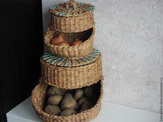 Корзины, коробы ручной работы. Ярмарка Мастеров - ручная работа Корзина из бумажной лозы Домик для лука и картошки. Handmade.