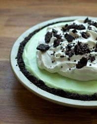 Tasting Table: Mint Icebox Pie. This sounds incredible. An Oreo cookie crust, a layer of chocolate pudding, a layer of mint mouse and topped with whipped cream. Wow!