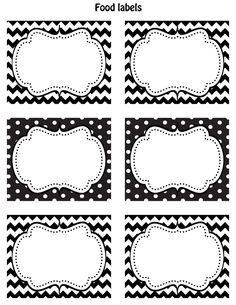 Who doesn't like Black and White?? So I thought I would design some food labels that would go with alot of different themes and designs!  Enjoy these FREE Printable  (3.75x3in) Labels.