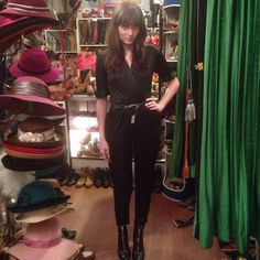 Miranda looks so cute in this whole outfit from the shop! #vintage #cutecustomer #happycustomer #vintagepantsuit #1980s #ankleboots #echopark #eaglerock #elysianheights #atwater #silverlake #losfeliz #losangeles #highlandpark #hollywood #lemonfrogshop