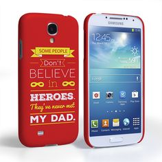 Caseflex Dad Heroes Quote Samsung Galaxy S4 Case - Red | Mobile Madhouse