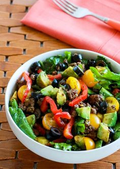 Baby Kale Paleo Taco Salad with Chile-Lime Dressing Paleo Taco Salad, Paleo Tacos, Simply Recipes, Whole 30 Recipes, Paleo Dairy, Dairy Free, Gluten Free, Pizza Flavors, Lime Dressing