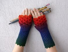 Long Crocheted fingerless gloves - Rainbow, multicolored. Winter Accessories.. $38.00, via Etsy.