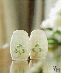 Belleek Shamrock Salt and Pepper Set by Belleek. $58.50. This Salt and Pepper holder set from Belleek Irish China would spice up any tabletop. Part of Belleek's Shamrock Tableware Collection. Featuring an embossed basket weave design and adorned with handpainted Irish shamrocks.