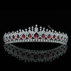 Side combs at each end of the tiara for added security. Fantastic hair accessories for weddings, proms, parties or other special occasions. Venus Jewelry, Women Jewelry, Rhinestone Wedding, Crystal Rhinestone, Crystal Wedding, Hair Jewelry, Bridal Jewelry, Jewellery, Jewelry Rings