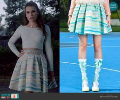 Hester's blue and green striped skirt on Scream Queens.  Outfit Details: http://wornontv.net/52420/ #ScreamQueens