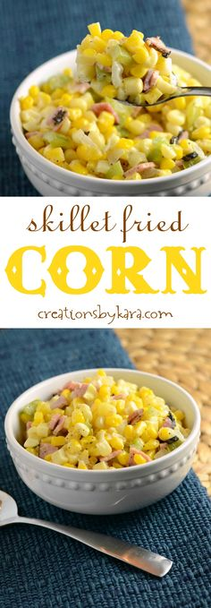 Recipe for skillet fried corn. Loaded with ham, onions, and peppers, this corn is sure to become a favorite side dish.