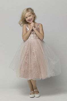 Gold sequined tea-length dress with shirred ivory tulle overlaid waistband and skirt