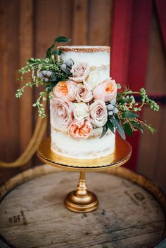 Two-Tiered Naked Wedding Cake with Flowers