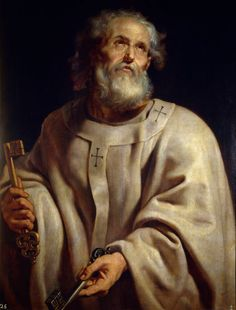 Peter was depicted holding a pair of keys, his common symbol: the keys to the Kingdom of Heaven.