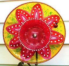 Plate Flower Garden Decor, garden decor hand painted plate flower, hand painted glass plate flower.