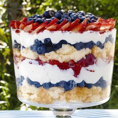 Trifle Patriotic Berry Trifle: Use store-bought angel food cake to cut down on the prep time for Sunny Anderson's colorful trifle.Patriotic Berry Trifle: Use store-bought angel food cake to cut down on the prep time for Sunny Anderson's colorful trifle. Memorial Day Desserts, 4th Of July Desserts, Just Desserts, Trifle Desserts, Trifle Cake, Summer Desserts, Patriotic Desserts, Blue Desserts, Fruit Trifle