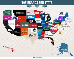 Map Reveals The MostGoogled Brands In Every State - The map of the united states