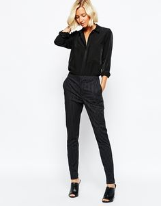 Image 1 ofSelected Muse Cropped Skinny Pants in Black