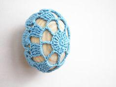 Easter egg fridge magnet Blue Kitchen decor Rustic Cottage chic Mother's day gift Crochet covered wooden egg handmade by boorashka