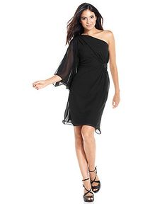 Evan Picone Dress, Three-Quarter-Sleeve One-Shoulder Beaded - Womens Dresses - Macy's - Bridesmaid Idea!