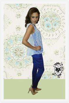 Look A Cara do Verão: Pant Azul Royal + Bata Sweet com Renda!
