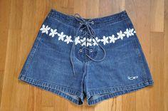 Vintage 90s Ocean Pacific OP Printed Denim Board Shorts Size