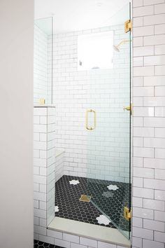 Small Lot Modern Farmhouse - Home Bunch Interior Design Ideas white subway tile shower with black hexagon floor, euro glass shower, gold shower hardware White Tiles Grey Grout, White Subway Tiles, Black Grout, Front Door Paint Colors, Painted Front Doors, Dream Home Design, House Design, Brick Accent Walls, Shower Floor Tile