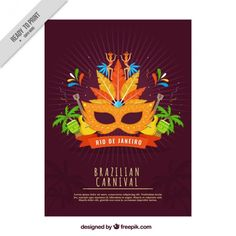 Brazilian carnival party poster Free Vector