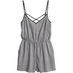 H&M Jumpsuit ($6.15) ❤ liked on Polyvore featuring jumpsuits, rompers, dresses, playsuits, h&m rompers, v neck jumpsuit, romper jumpsuit, h&m and h&m jumpsuit