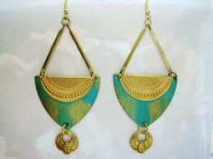 Egyptian earrings vintage style Art Deco turquoise statement earrings gold long drop scarab large