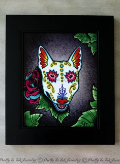 Day of the Dead Bull Terrier Sugar Skull Dog Art Print - 8 x 10 - Prints for Pits Rescue Donation