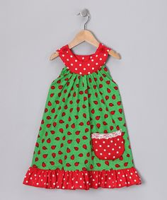 Green Ladybug Yoke Dress - Toddler & Girls