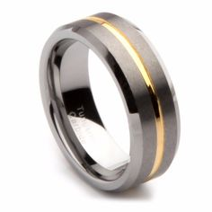 7690945afb9 8MM Gold Color Tungsten Carbide Rings For Men Comfort Fit Wedding  Engagement Jewelry Brushed Center Finish