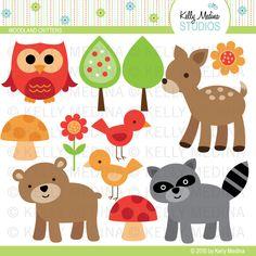 Illustrations & Cliparts - Woodland Animals - MYGRAFICO - DIGITAL ARTS AND CRAFTS STORE