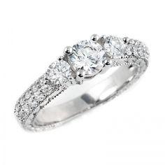 1 1/8 CTW Three Stone Diamond Engagement Anniversary Ring in 14K White Gold
