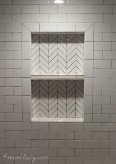 Herringbone tile mosaic made from regular subway tile. 4men1lady.com