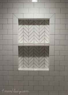 Herringbone tile mosaic made from regular subway tile. 4men1lady.com