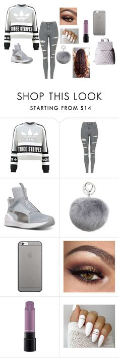 """50 shades of grey"" by cupcakefriend11 ❤ liked on Polyvore featuring adidas Originals, Topshop, Puma, Adrienne Landau, Native Union, MAC Cosmetics and Vera Bradley"