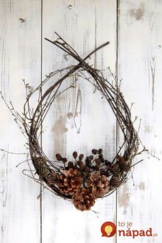 Willow wreath and pinecones