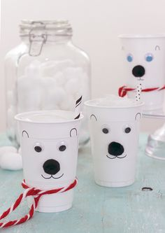 #ad Easy and fun DIY polar bear cups inspired by #NormOfTheNorth!