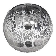 Gisela Graham Winter Scene Glass Candle Holder