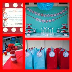dr.seuss party ideas on a budget | Dr Seuss' Cat in the Hat Birthday Party inspriration | Make Create Do