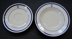 """HLC Navy Wardroom Officers Mess Fouled Anchor Rim Cereal Bowl 6 7/8"""" & Saucer 6"""""""