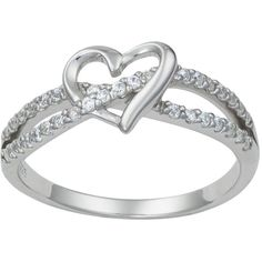 Promise Ring for Her: Sterling Silver Double Twisting CZ Simulated Diamond Heart Promise Ring Promise Rings Pandora, Cheap Promise Rings, Diamond Promise Rings, Promise Rings For Her, Diamond Heart, Silver Promise Rings, Cute Rings, Pretty Rings, Promise Rings For Girlfriend