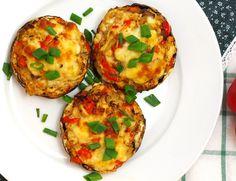 Pieczarki portobello faszerowane mielonym mięsem – Bullio Portobello, Baked Potato, Grilling, Potatoes, Eggs, Baking, Breakfast, Ethnic Recipes, Impreza
