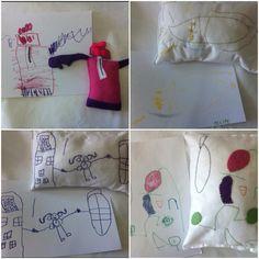 Bonecos e almofadas em feltro, feitas à partir dos desenhos das crianças.