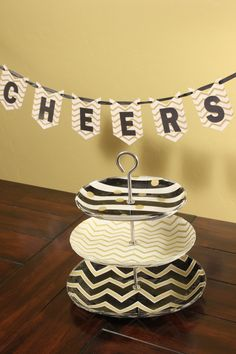 Ikea Hack.....dessert stand made with Mod Podge. Great for New Year's Eve.