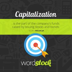 "#WordStock of the day ""Capitalization"" is the part of the company's funds raised by issuing stocks and bonds. (Source: PSE)"
