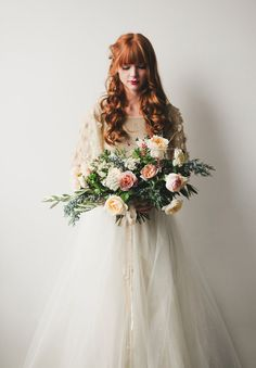 A Winter's Tale - Kirsten Kizerian - West End Girl Gold Wedding Theme, Wedding Pics, Wedding Bride, Dress Flower, Flower Girl Dresses, Wedding Dress Cake, Wedding Dresses, Gown Wedding, Perfect Wedding
