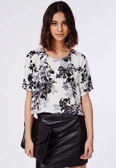 Floral Print Shell Top Grey - Tops - Shell Tops - Missguided