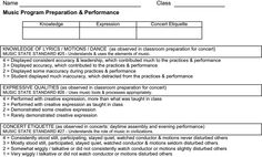 Music Program Preparation and performance rubric