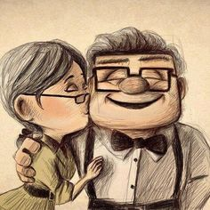 Drawing, Grandparents, Happy, Hug, Kiss, Love, Love Life, Movie, Old, Smile, Sweet, Up, Disney Movie, Disney