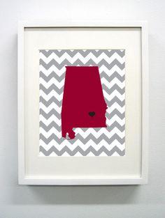 Troy Alabama State Giclée Print 8x10  Cardinal and by PaintedPost, $14.00